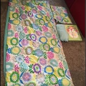 Girls comforter, sheets set, pillow sham and Sign